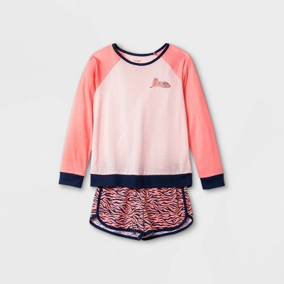 Girls' 2pc Tiger Print Pajama Set - Cat & Jack™ Pink