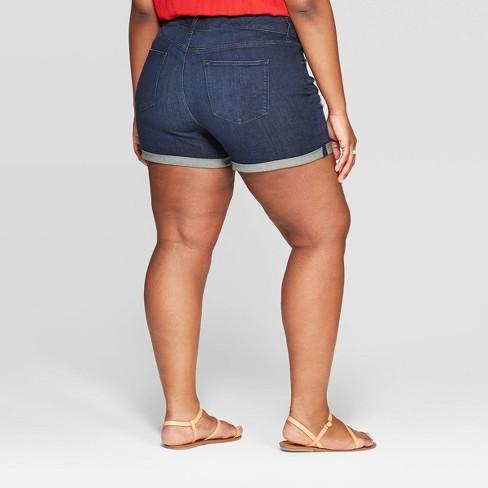 e6246c79466 Women s Plus Size Mid-Rise Jean Shorts - Universal Thread™ Dark Blue ...
