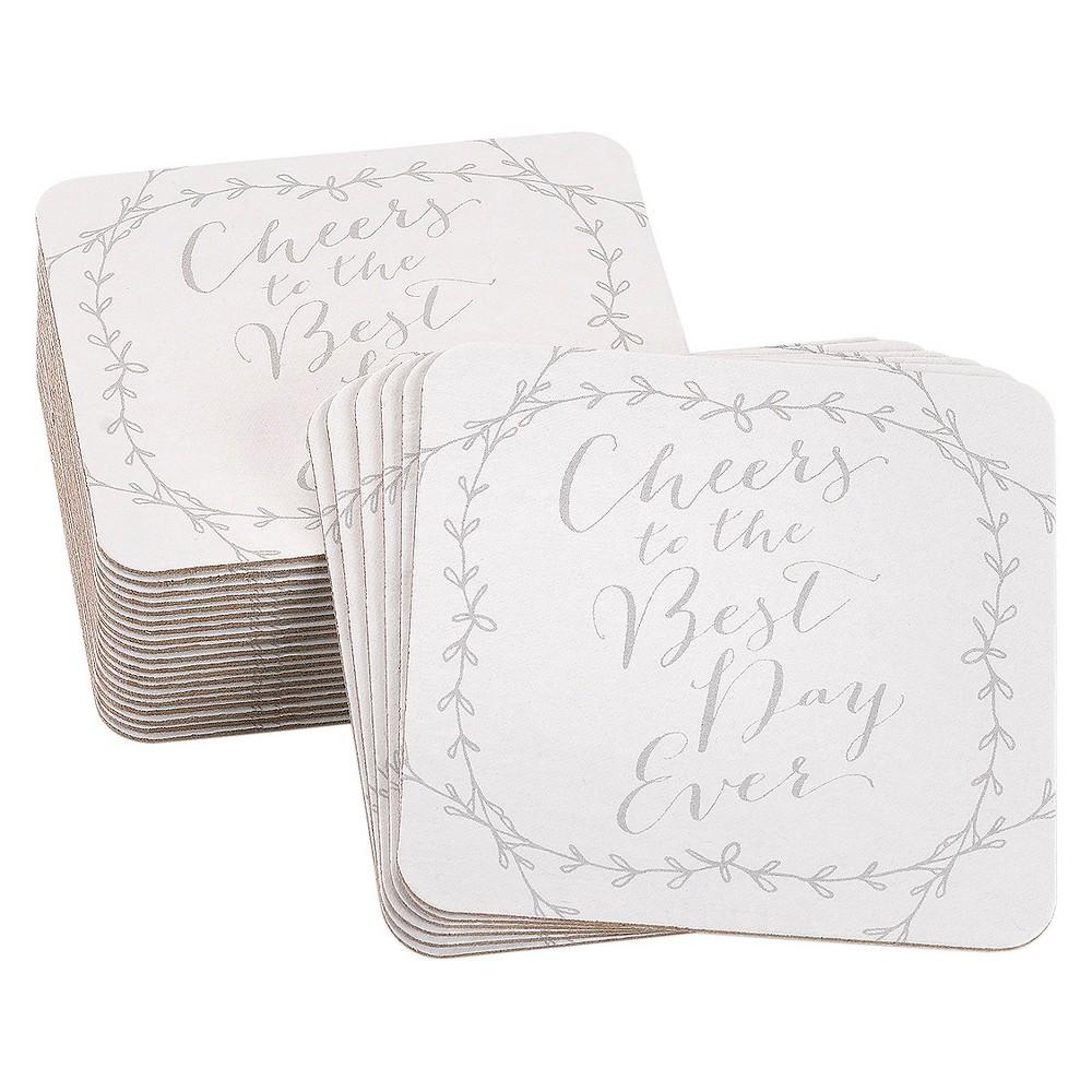 Image of 25ct Hortense B. Hewitt Rustic Vines Coasters, White