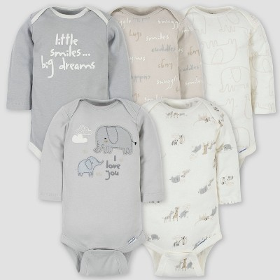 Gerber Baby 5pk Safari Long Sleeve Onesies - Gray 6-9M