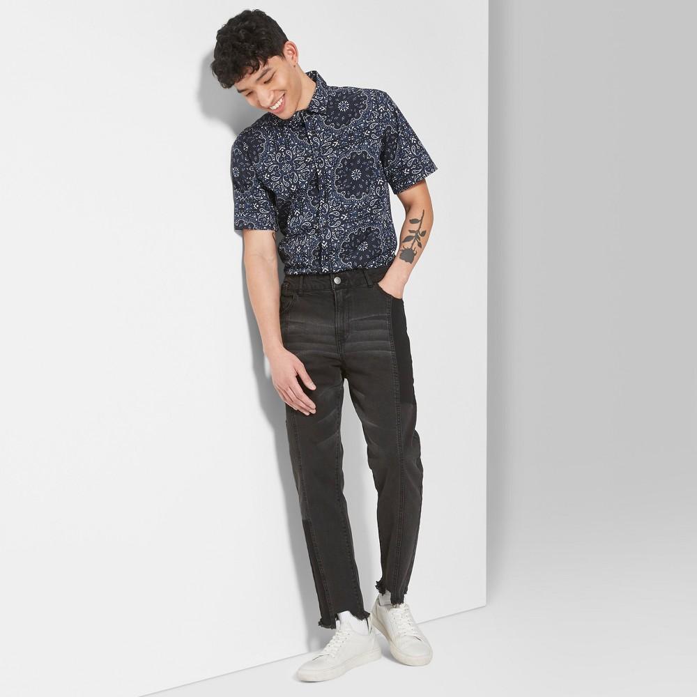 Men's Casual Fit Mid-Rise Pieced Straight Denim Pants - Original Use Black 40