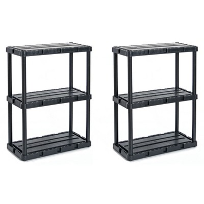 Gracious Living 91082-1C 24 x 12 x 33 Inch Knect A Shelf Fixed Height Light Duty Interlocking Home Storage 3 Shelf Shelving Unit, Black (2 Pack)