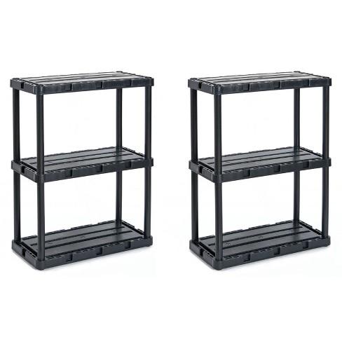 Gracious Living 91082-1C 24 x 12 x 33 Inch Knect A Shelf Fixed Height Light Duty Interlocking Home Storage 3 Shelf Shelving Unit, Black (2 Pack) - image 1 of 4