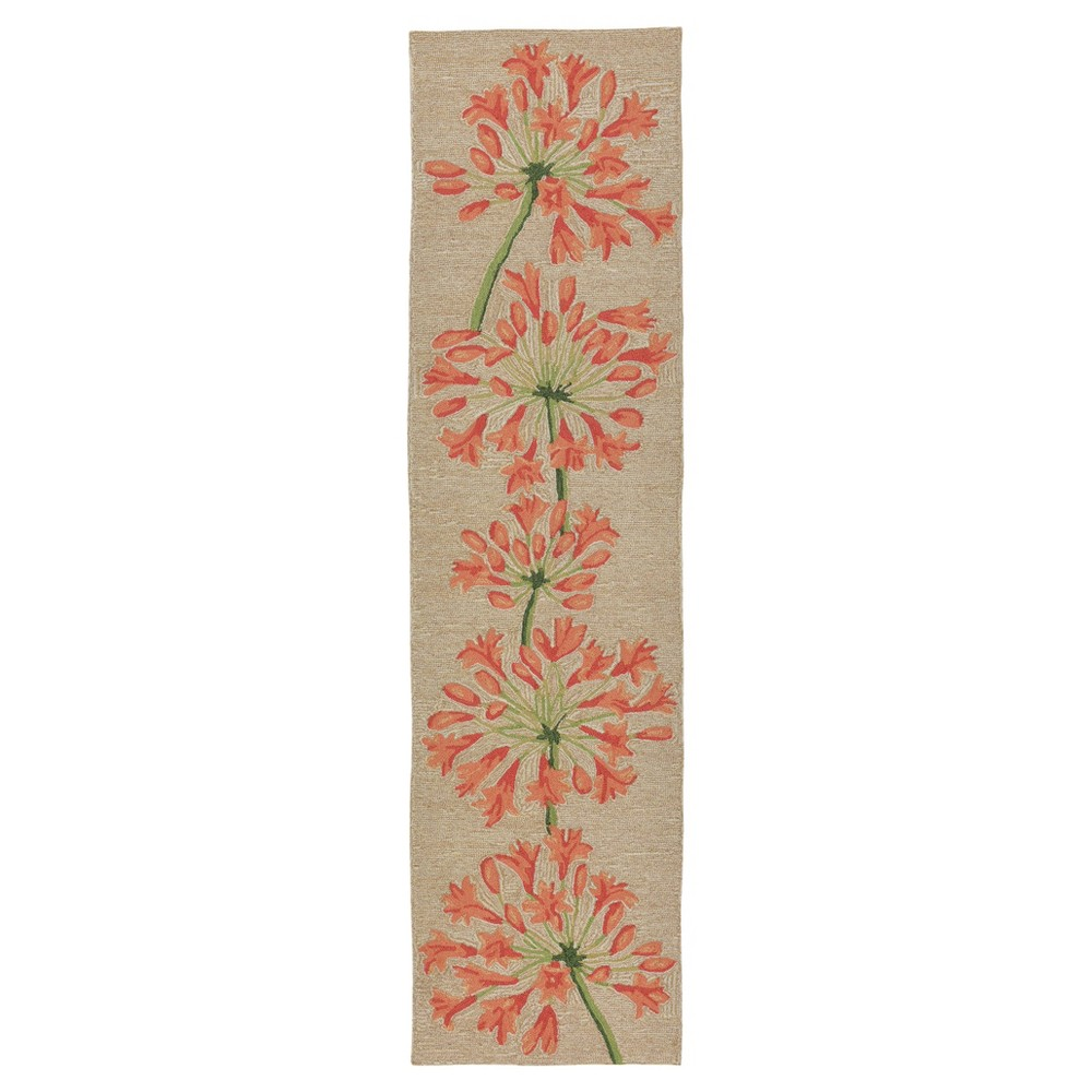 Orange Floral Tufted Runner 2'x8' - Liora Manne