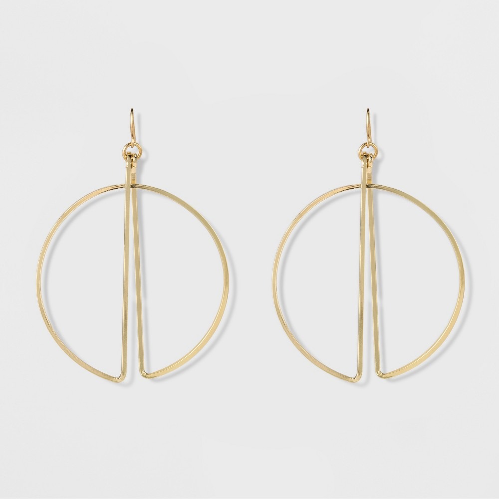"Image of ""Women's Natasha Accessories Gold Plated Geometric Earring - Gold (3""""), Size: Small"""