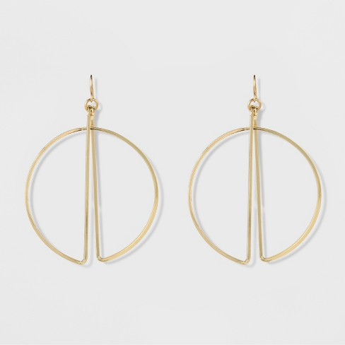 "Women's Natasha Accessories Gold Plated Geometric Earring -  Gold (3"") - image 1 of 2"