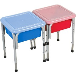 ECR4Kids 2-Station Sand and Water Adjustable Activity Play Table Center with Lids, Square, Red/Blue