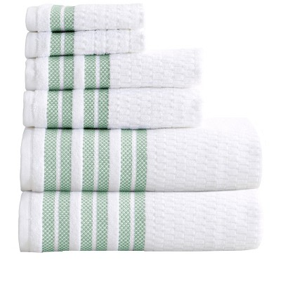 Great Bay Home 100% Cotton Textured Striped Bath Towel Sets