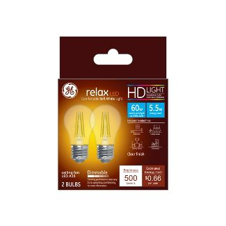 General Electric 2pk 60W Relax LED Light Bulb SW A15 CF Clear
