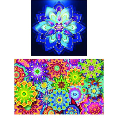 Juvale DIY 5D Diamond Painting Kit for Adults with 2 Full Drill Canvases and Tools (Mandala)