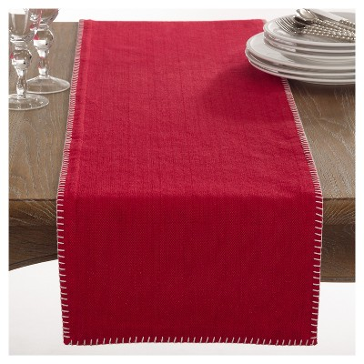 Red Celena Whip Stitched Design Table Runner (13 x72 )- Saro Lifestyle®