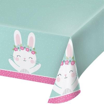 Bunny Print Disposable Plastic Tablecloth