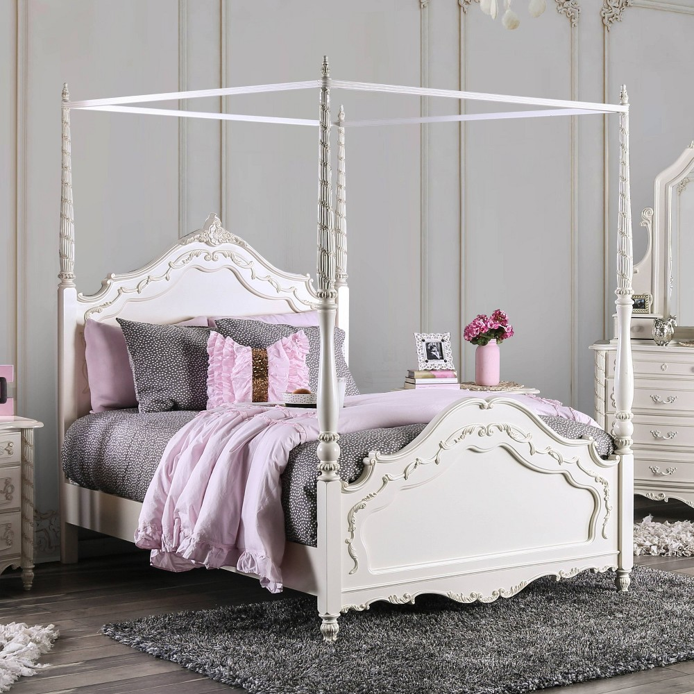 Aurora Canopy Bed Twin Winter White - Homes: Inside + Out