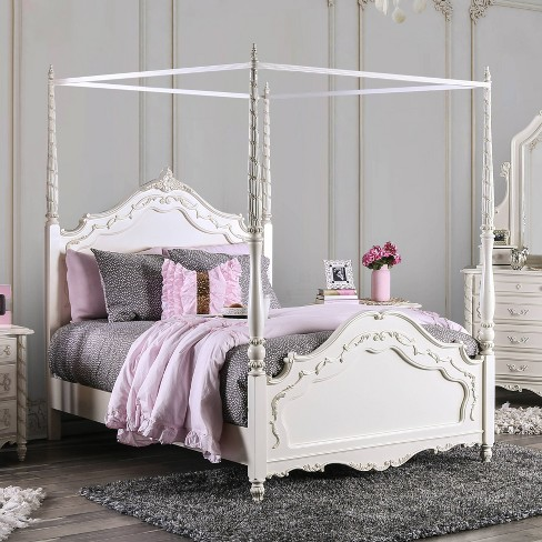 Aurora Canopy Bed Twin Winter White Homes Inside Out