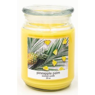 20oz Lidded Glass Jar Pineapple Palm Candle