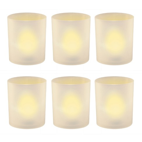 6ct Battery Operated Flickering LED Amber Lights In Frosted Holders With Timer White - Lumabase - image 1 of 5