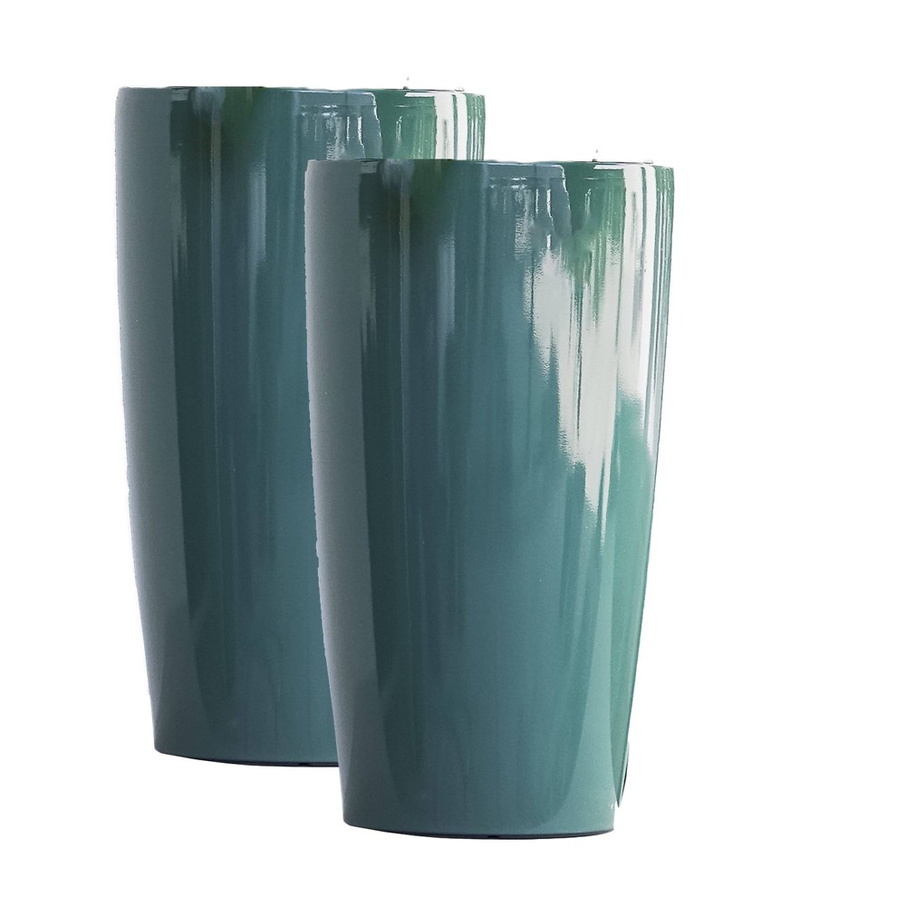 "Image of ""17"""" 2pk Plastic Nested Self Watering Planter Pot Blue - XBrand"""