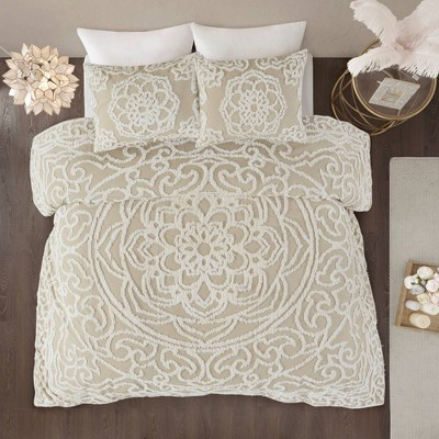 King/California King Cecily Cotton Chenille Medallion Comforter Set Taupe
