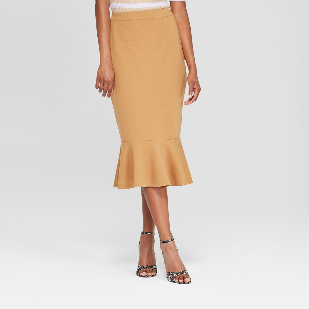 Women's Ponte Midi Skirt - Who What Wear Tan 16, Brown