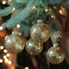 """Northlight 4ct Clear Glass with Gold Seeds Christmas Ornament Ball Set 3.25"""" (80mm) - image 2 of 2"""
