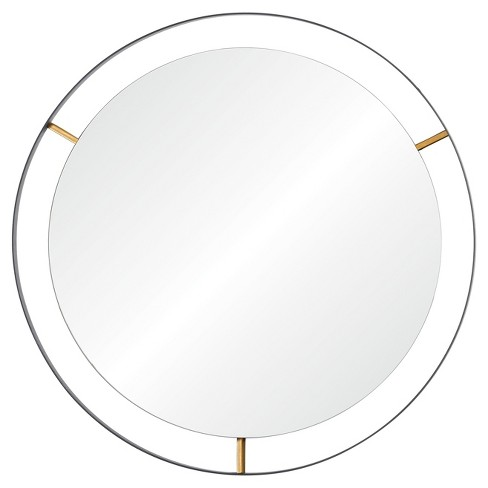 Framed Round Wall Mirror - Matte Black - Rogue Dcor - image 1 of 4