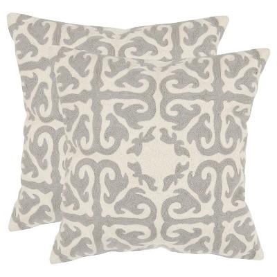 "Light Gray Set Throw Pillow (18""x18"")- Safavieh"