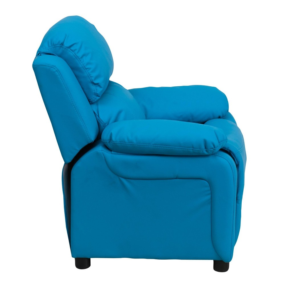 Deluxe Padded Contemporary Kids Recliner with Storage Arms Vinyl Turquoise - Riverstone Furniture
