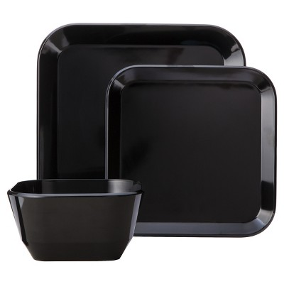 Square Dinnerware Set 12-pc. Melamine Black - Room Essentials™