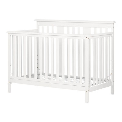 Little Smileys Modern Baby Crib Adjustable Height Mattress with Toddler Rail - Pure White
