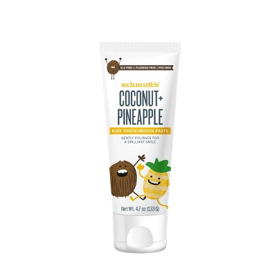 Schmidt's Coconut + Pineapple Fluoride-Free Mouth and Toothpaste for Kids - 4.7oz