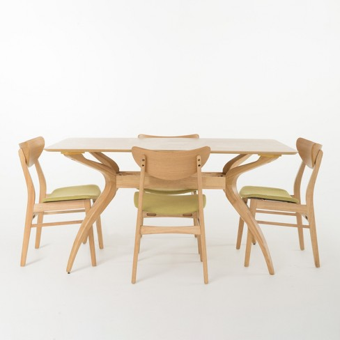 """5pc Anise Curved Leg 59"""" Dining Set Oak Brown/Green Tea - Christopher Knight Home - image 1 of 4"""