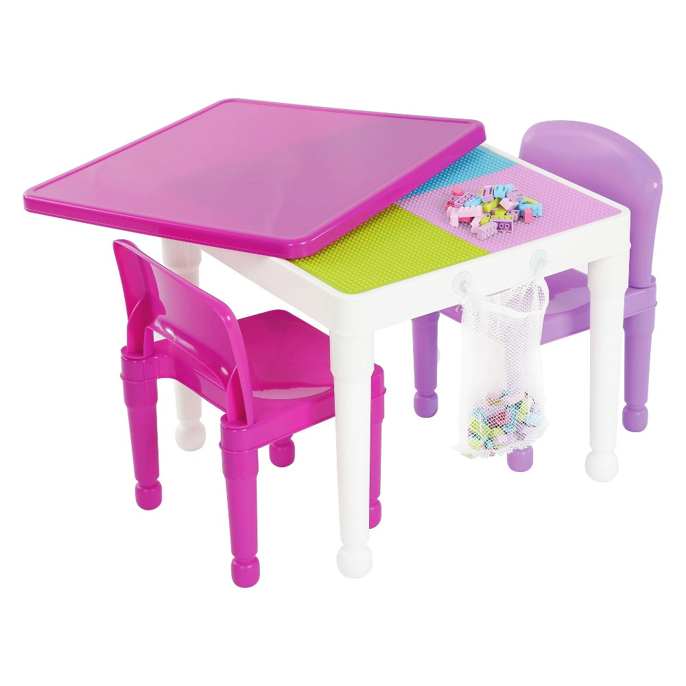 Image of 2 - In - 1 Square Activity Table With 2pc Chairs Pink/Purple - Tot Tutors
