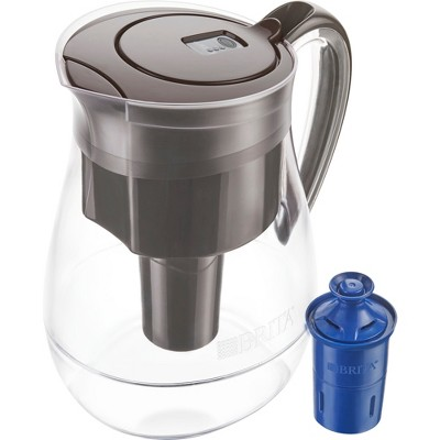 Brita Monterey 10 Cup BPA Free Water Pitcher With 1 Longlast Filter - Black Coffee
