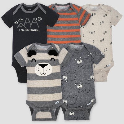 Gerber Baby Boys' 5pk Short Sleeve Bear Bodysuits - Gray/Light Brown 0-3M