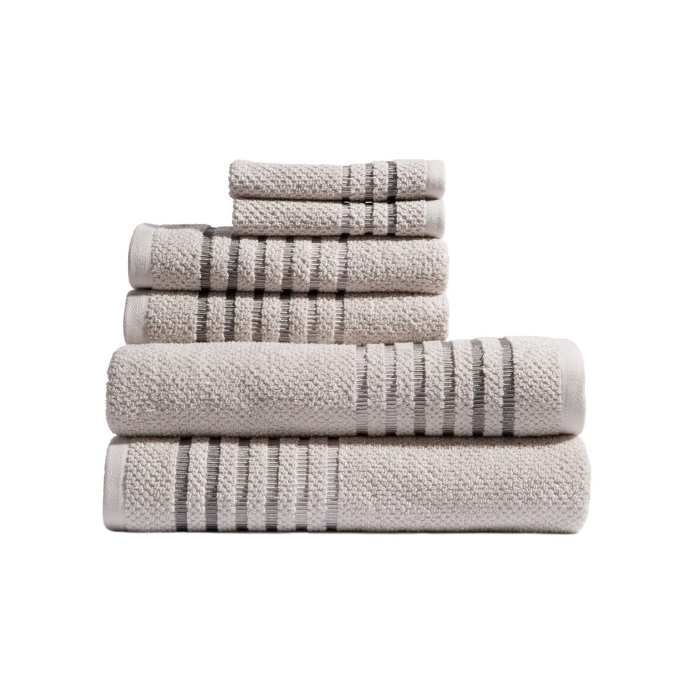 Image of 6pc Maggie Barely Gray Bath Towels Sets - Caro Home