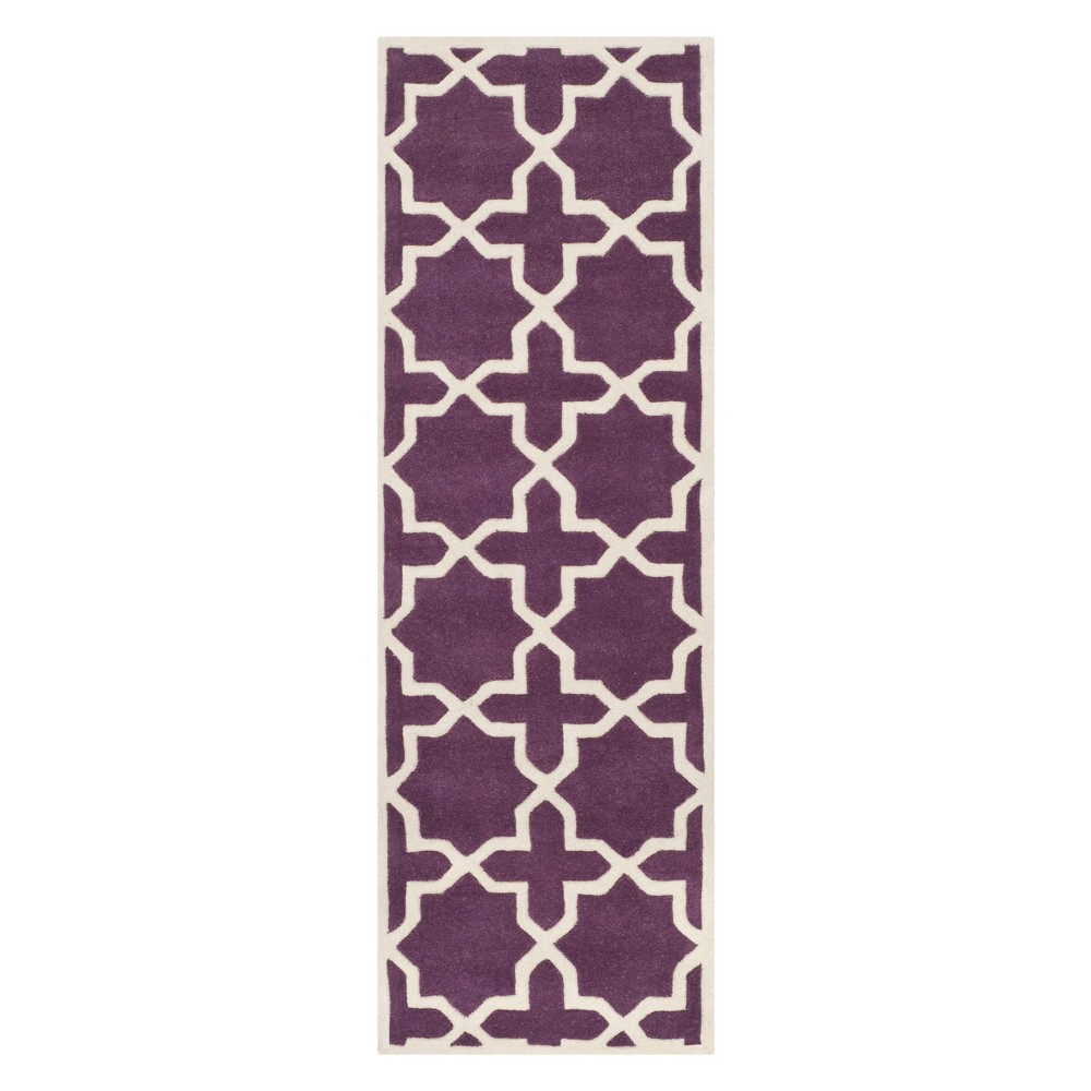 23X11 Quatrefoil Design Tufted Runner Purple/Ivory - Safavieh Top