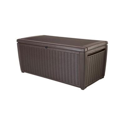 Keter 220941 Sumatra 135 Gallon Waterproof Weather Resistant Resin Outdoor Backyard Patio Porch Deck Garden Pool Storage Container Bench, Brown