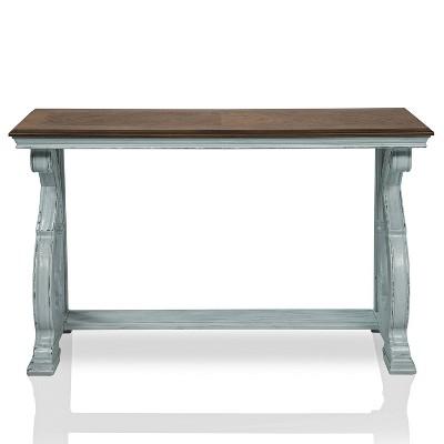 Crimber Trestle Sofa Table Oak/Antique Blue - miBasics
