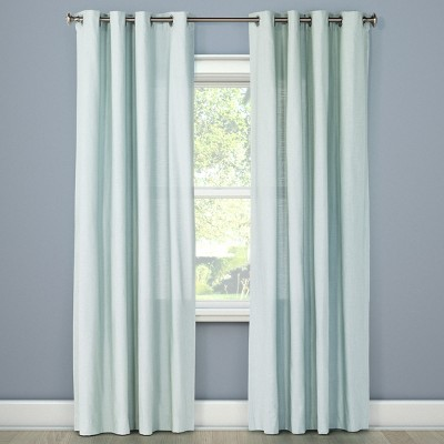 Natural Solid Curtain Panel Aqua (54 x84 )- Threshold™