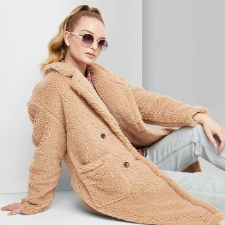 Women's Long Sleeve Button-Front Sherpa Pea Coat - Wild Fable™ Tan XL