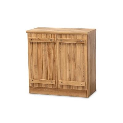 2 Door Sorina Farmhouse Natural Wood Shoe Cabinet Brown - Baxton Studio