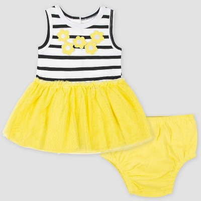 Gerber Baby Girls' Dress with Tulle Overlay Flowers - White/Yellow 6-9M