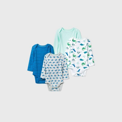 Baby Boys' 4pk Dino Dreams Long Sleeve Bodysuit - Cloud Island™ Blue/Green/Gray 0-3M