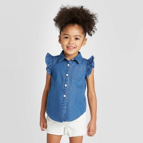 Toddler Girls' Denim Button-Down Blouse - Cat & Jack™ Blue - image 1 of 3