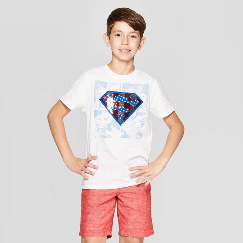 Boys' Superman Flip Sequin Comic USA Short Sleeve T-Shirt - White - image 1 of 4