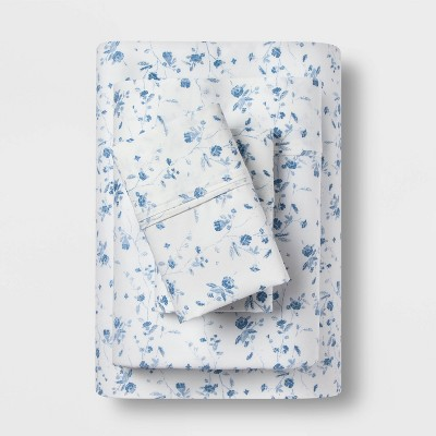 Queen 400 Thread Count Floral Print Cotton Performance Sheet Set White/Blue Floral - Threshold™