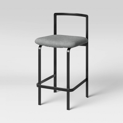 Hallcraft Low Back Metal Frame Stacking Counter Height Barstool Black/Gray - Project 62™