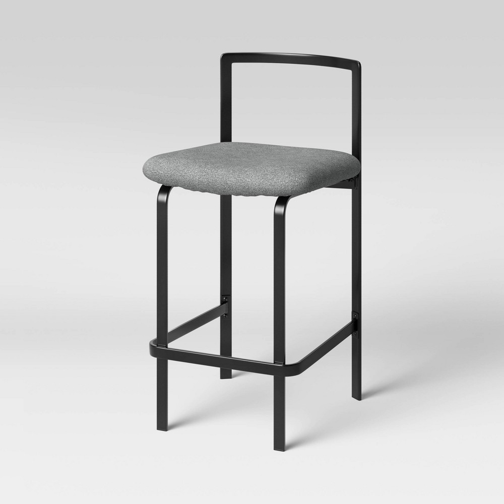 Hallcraft Low Back Metal Frame Stacking Counter Height Barstool Black Gray Project 62 8482