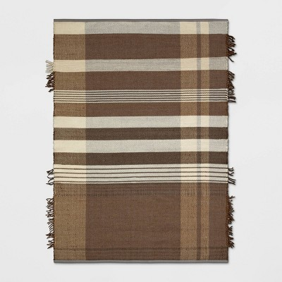 5'X7' Plaid Fringe Cognac Rug Brown - Threshold™