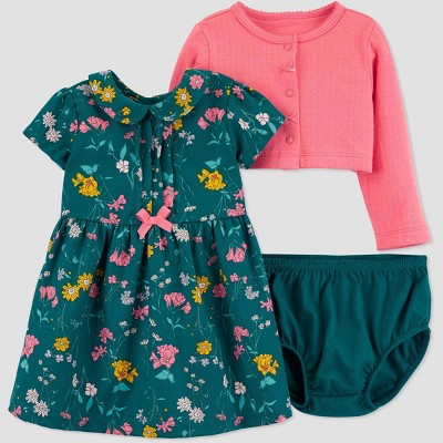 Baby Girls' 2pc Floral Top & Bottom Sets - Just One You® made by carter's Green/Pink 3M